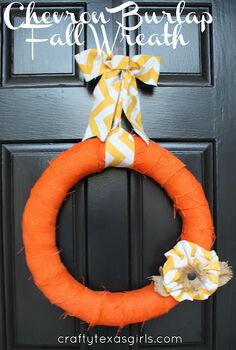 chevron burlap wreath, crafts, doors, wreaths, Chevron Burlap Wreath