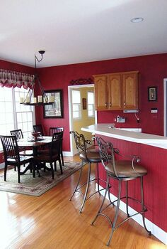 if you want to make your kitchen look larger then paint both rooms the same color, home decor, kitchen design, painting, The red is more dominate and gives the feeling that the kitchen is the most important room
