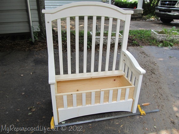 Upcycled Repurposed Crib Into Toy Box Bench