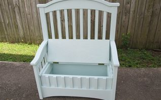 upcycled repurposed crib into toy box bench, repurposing upcycling, woodworking projects, I added hinges and a safety hinge not shown I painted it a very light blue green Note I drilled holes in the bottom for ventilation in case a child closes the lid while in the box
