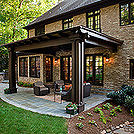 this backyard is now in unison with the rest of this lovely home not only did the, landscape, outdoor living, porches