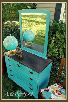 a kid ravaged dresser turned vintage school house style dresser, painted furniture, repurposing upcycling, The finished dresser Ready to shine