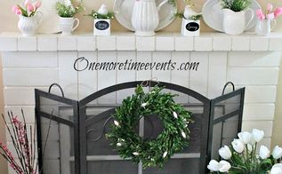 spring mantel spring has sprung, crafts, fireplaces mantels, seasonal holiday decor, wreaths, Decorating with White Pitchers and Tupilps