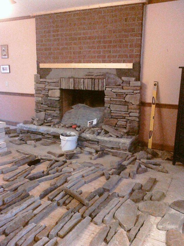 as the fireplace surround is re faced concrete masonry fireplaces mantels home decor - How To Stone Veneer Fireplace