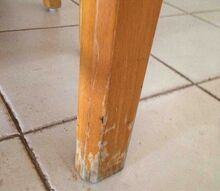 scraped table legs, painted furniture, Hello are there any ideas what can be done with the damage to the legs of the table Thank you