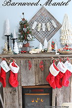 barnwood christmas mantel, fireplaces mantels, seasonal holiday d cor, The completed barnwood mantel all decorated for Christmas