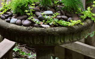3 beautiful birdbath planters, gardening, outdoor living, pets animals, This birdbath is in a shaded area