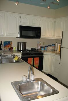 updated cabinets, kitchen cabinets, painting, Original Painted Cabinets