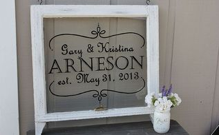hand painted vintage window, home decor, painted furniture, repurposing upcycling, windows, Hand Painted wedding sign on vintage window
