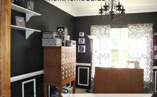 dining room turned black and white craft room, craft rooms, home decor, The finished craft room gorgeous