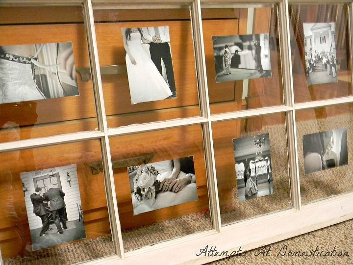 Using an old window to display photos hometalk for How to use an old window as a picture frame
