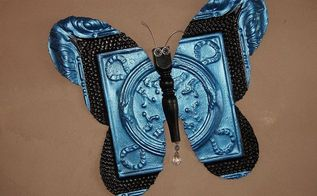 morphing antique tile in to a butterfly, crafts, repurposing upcycling, Painted with metallic blue and black craft paint Sealed with Krylon Clear Satin