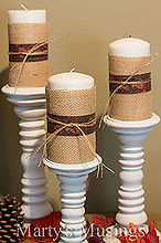 accents for fall decor, crafts, seasonal holiday decor, Candle holders were from a yard sale and spray painted for my daughter s wedding I took three white candles wrapped them in burlap used ribbon I already had and pulled strings out of the fabric to tie around the candles Easy