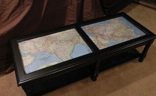 coffee table makeover with antique maps, chalk paint, painted furniture, The whole thing