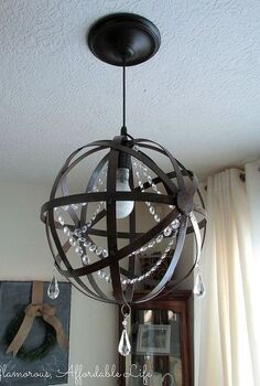 diy iron orb crystal chandelier, diy, lighting