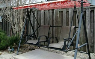 upcycling patio chairs into a garden swing seat, outdoor furniture, outdoor living, painted furniture