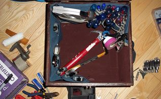 indoors tool storage, organizing, painted furniture, storage ideas, Staple the two pieces into the box and load it up