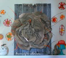 pallet art, crafts, home decor, pallet, repurposing upcycling, wrapped twigs with yarn and made a huge paper flower Stapled to board and inserted twigs It is a beautiful statement piece to the room