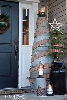 christmas trees made from unexpected items, christmas decorations, repurposing upcycling, seasonal holiday decor, Galvanized Tub Christmas Tree