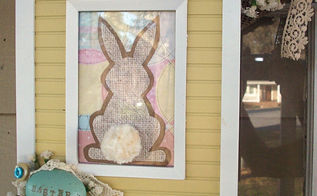 blogs and hometalk inspired vintage easter wreath, easter decorations, seasonal holiday d cor, wreaths, A thrift store frame and a bunny made with scrapbook papers and using a template that I found on 504 Main blog