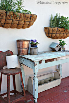 10 diy transformations, painted furniture, Potting Bench via Whimsical Perspective