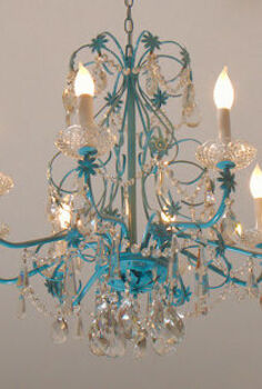 blue chandelier redo, home decor, lighting, After