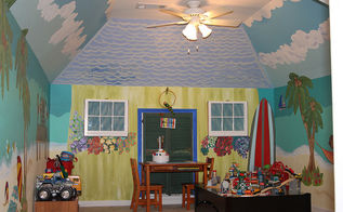 transforming a blah playroom into paradise with a beach mural, entertainment rec rooms, home decor, paint colors, painting, wall decor, The AFTER