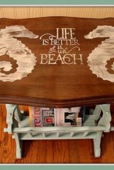 sea horse beachy magazine rack end table makeover, painted furniture, a BEACHY Life is better at the beach magazine rack end table