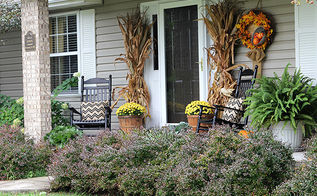 fun and festive fall porch, curb appeal, gardening, outdoor living, seasonal holiday decor, wreaths, Traditional cornstalks and mums were the basis for my porch decor this year