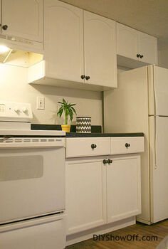 painting kitchen cabinets with rustoleum cabinet transformations, kitchen backsplash, kitchen cabinets, kitchen design, painting, urban living, After the painted cabinets give this one room first floor combined kitchen dining living room space a bigger cleaner look