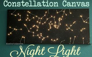 diy canvas constellation night light, crafts, lighting