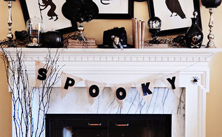 a black white halloween mantel, halloween decorations, seasonal holiday d cor, A black white and silver Halloween mantel