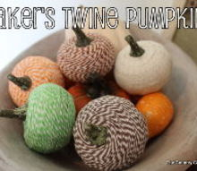 baker s twine pumpkins, crafts, decoupage, seasonal holiday decor, Completed baker s twine pumpkins in a bowl for display Learn how to make them here