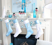 blue christmas mantel, christmas decorations, seasonal holiday decor