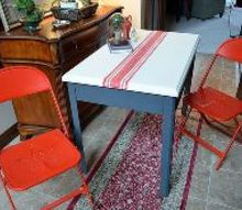 grain sack inspired table top, chalk paint, painted furniture, Metal table top painted to resemble a grain sack table runner