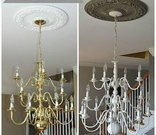 the secret to a gorgeous chandelier without buying a new one, lighting, painting, The Gold Before and The Spray Painted After