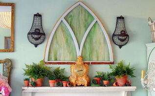spring fern mantlescape, fireplaces mantels, home decor, Antique stained glass stands in as art over the mantel