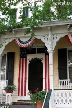 a favorite outdoor space a patriotic victorian farmhouse front porch, curb appeal, outdoor living, patriotic decor ideas, porches, The Fairfied House Patriotic Front Porch