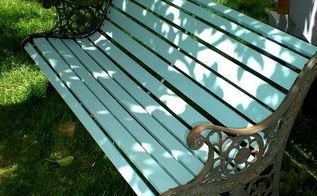 garden bench updates, outdoor furniture, outdoor living, painted furniture, Old cedar slat bench painted in my favourite turquoise paint in an exterior grade latex