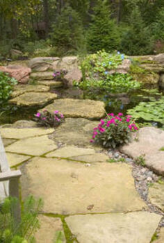 create a backyard oasis with a pond, landscape, outdoor living, ponds water features, A quaint bench provides a relaxing spot to watch the fish or walk across the stepping stones to explore more