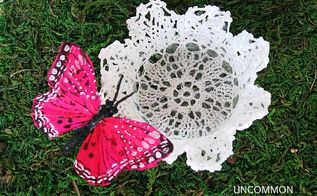 how to create an adorable spring flower votive, crafts, flowers, A simple doily and a sweet buttSerfly attached