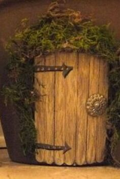 whimsical elf door, crafts, flowers, gardening, outdoor living, paint on hardware and add a jewelry button fun for the holidays