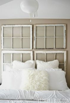 diy antique window headboard, bedroom ideas, home decor, repurposing upcycling