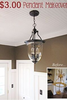 3 00 brass pendant turned into pottery barn style light, lighting, painted furniture, 3 00 pendant light makeover