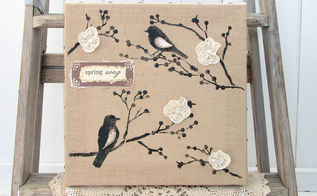 still partying michaels hometalk style a giveaway, crafts, Head to the link above for a chance to win this hand stenciled burlap canvas bird art