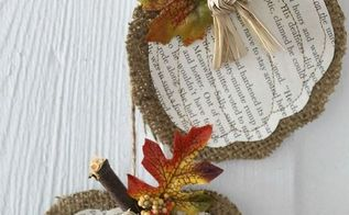 burlap book page pumpkins, crafts, repurposing upcycling, seasonal holiday decor