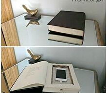 hollow book phone charging station, crafts, repurposing upcycling
