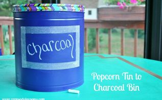 upcycled popcorn tin into charcoal bin, chalkboard paint, crafts, repurposing upcycling