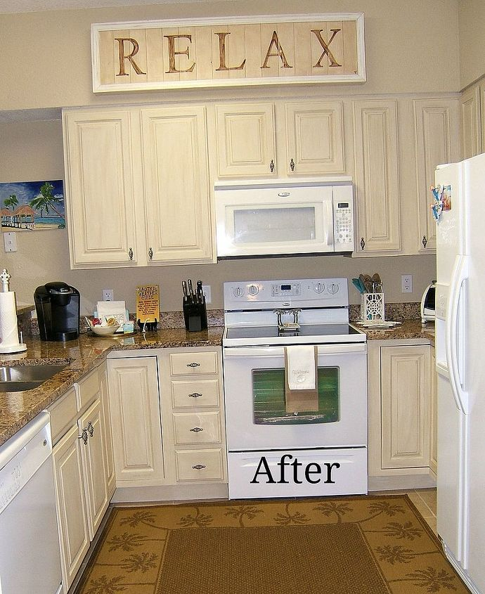 Kitchen cabinet remake pickled to beachy hometalk for White pickled kitchen cabinets
