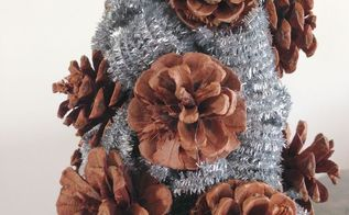 pinecone glitter stems tree, crafts, seasonal holiday decor, No need to paint the cone tree before applying the pinecones and stems You can cover any open areas just by adjusting the curled stems